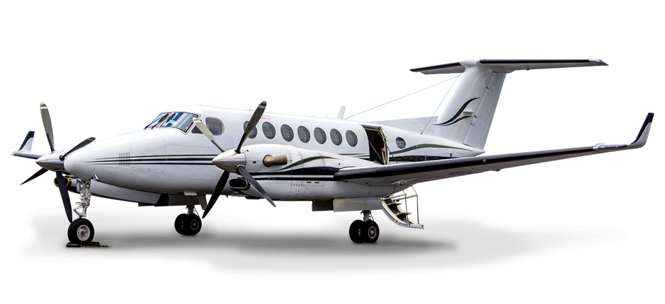 Beechcraft King Air 350 Aircraft with entry stairs deployed | American Polarizers, Inc.